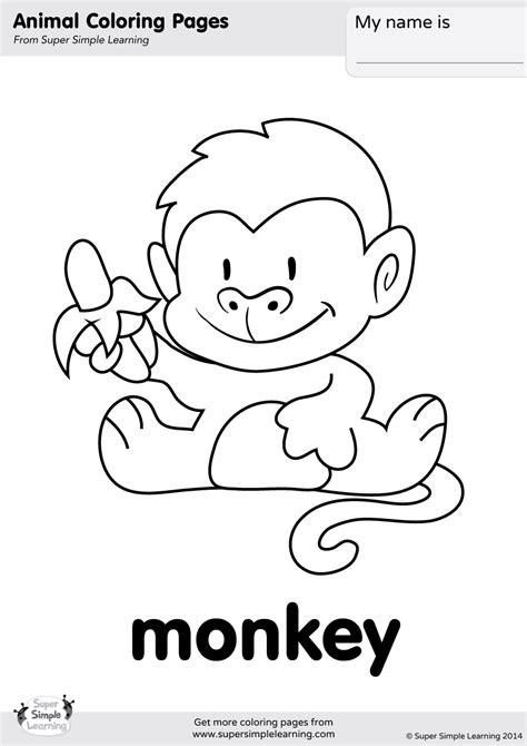 Monkey Coloring Page - Super Simple