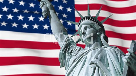 Statue of Liberty ans USA flag: Royalty-free video and