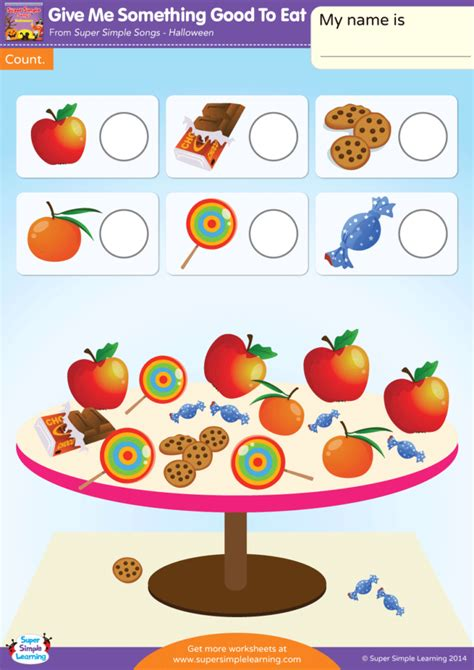 Give Me Something Good To Eat Worksheet - Count - Super Simple