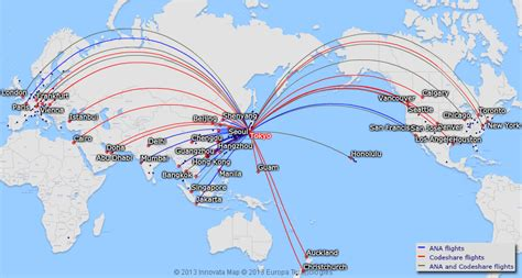 ANA All Nippon Airways route map - international routes