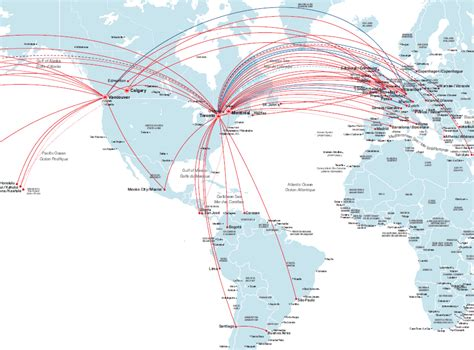 Air Canada route map - Europe and South America